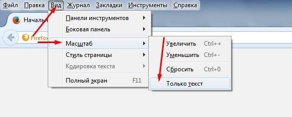 изменение масштаба страницы в firefox